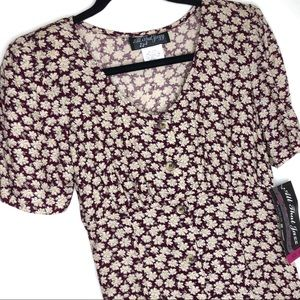 Vintage 90s All That Jazz Floral Button Midi Dress